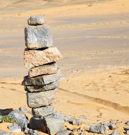land shell:  the desert of morocco sahara and rock  stone    sky Stock Photo