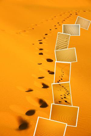desert footprint: the brown sand dune in the sahara morocco desert  in wallpaper