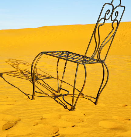 oasis at sunrise: table and seat in  desert sahara morocco    africa yellow sand
