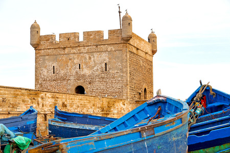 worl: boat and sea in africa morocco old castle brown brick  sky Editorial