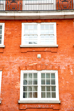 in europe london old red brick wall and      historical window