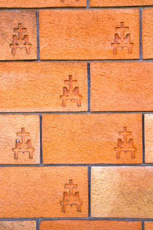italy background: milan  in italy old church concrete wall  brick   the    abstract  background stone