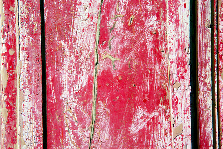 old wooden door: stripped paint in the blue  wood door and rusty    nail Stock Photo