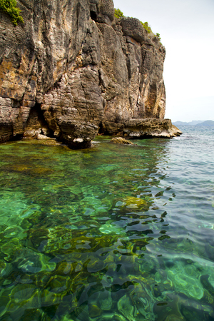 green sea: asia in the  kho phangan isles bay   rocks    thailand  and south china green sea