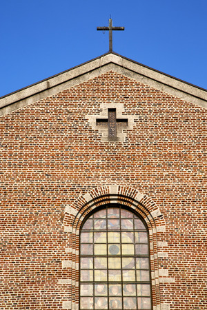 rose window: italy  lombardy     in  the  turbigo  old   church   closed brick tower   wall rose   window tile