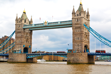 old bridge: london tower in england old bridge and the cloudy sky Stock Photo