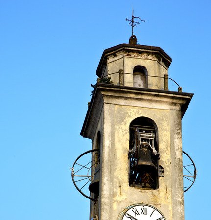 sunny day: arsago seprio old abstract in  italy   the   wall  and church tower bell sunny day
