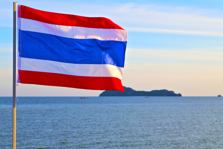 float cotton cloud: asia  lomprayah  bay isle sunrise flag   in thailand and south china sea