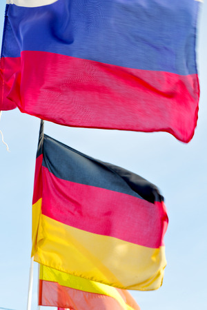covenant: waving flag in the blue sky world  colour and wave    battlements Stock Photo
