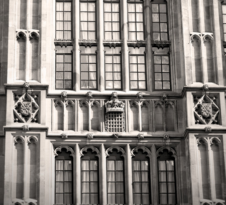 neogothic: in london old historical  parliament glass    window    structure and sky