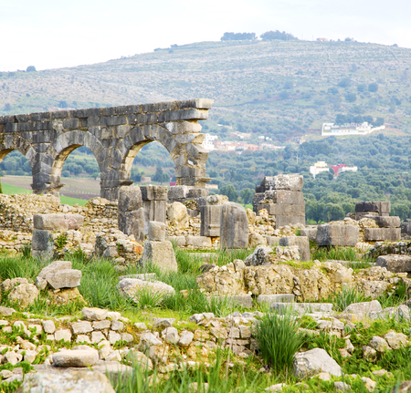 deteriorated: volubilis in morocco africa the old roman deteriorated monument and site Editorial