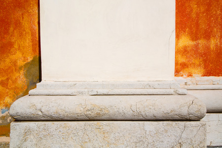 italy background: abstract old column in the  country  of europe italy and marble brick