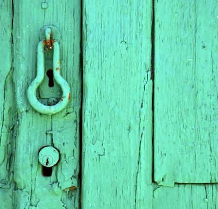 canarias: canarias brass brown knocker in a green closed wood  door  lanzarote abstract  spain
