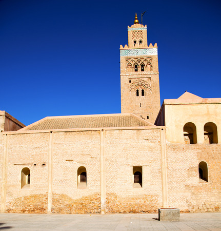 maroc: in maroc africa      minaret  and the blue     sky Editorial