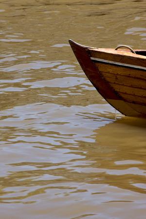 tigre: prow boat water and coastline in rio de la plata el tigre buenos aires argentina Stock Photo