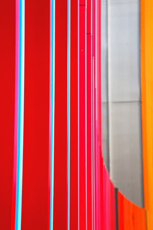 red metal: blue red  abstract metal in englan london railing steel and background Stock Photo