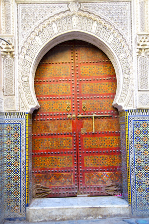 detail: historical in  antique building door morocco style africa   wood and metal rusty Stock Photo