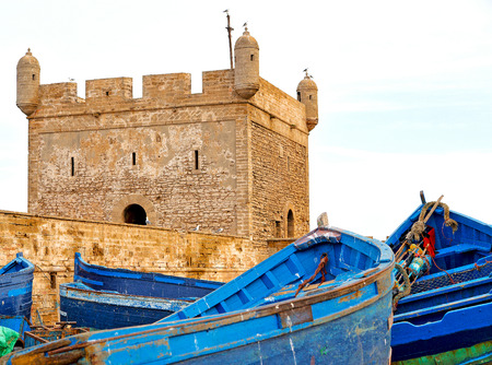 worl: boat and sea in africa morocco old castle brown brick  sky Stock Photo