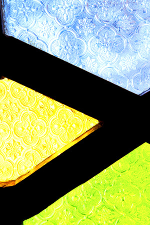 deform: colorated glass and sun in morocco africa window and light Stock Photo