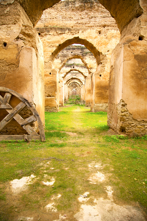 granary: old moroccan granary in the green grass and archway  wall Stock Photo