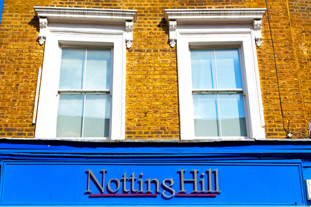 notting hill in london england old suburban and antique    wall door Editorial