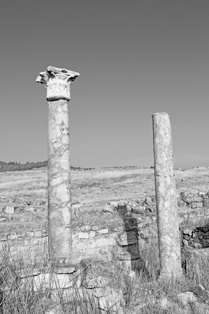 Roman temple: construcción antigua Pamukkale en Turquía asia la columna y el templo romano