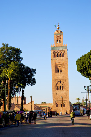 maroc: in maroc africa      minaret  and the blue     sky Editorial