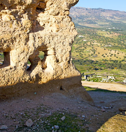casbah: from high in the village morocco africa field and constructions