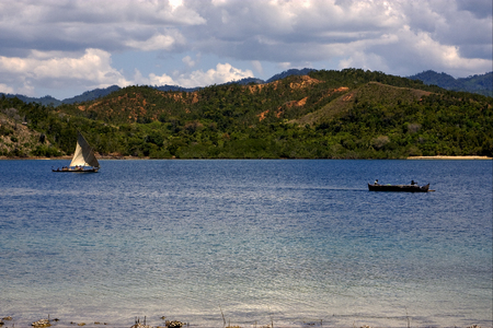 navigable: tropical lagoon hill navigable  froth cloudy   and coastline in madagascar nosy be Stock Photo