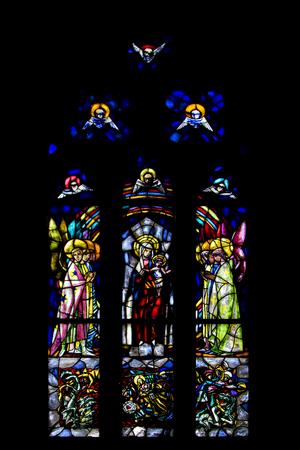 rose window: the colored rose window in the church in santa chiara naples Archivio Fotografico