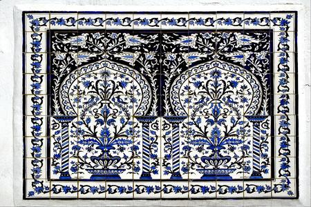 sidi bou said: Traditional  blue mosaic piece of  ceramics in  Sidi Bou Said