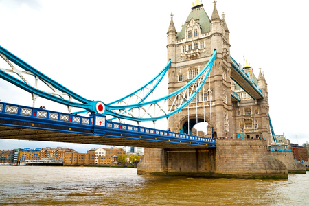 great britain: london tower in england old bridge and the cloudy sky Stock Photo