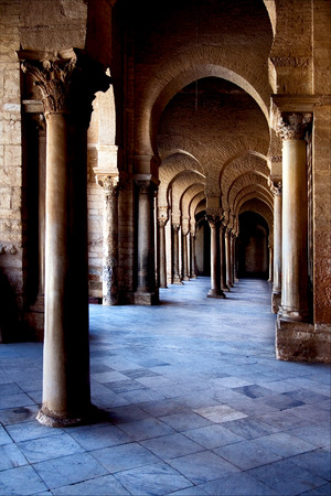 kairouan: Great Mosque of Kairouan Tunisia  the fourth most sacred place of islam Stock Photo