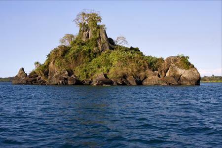 nosy: isle river   palm  rock stone branch hill lagoon and coastline in madagascar nosy be nosy faly