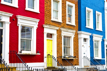 notting hill in london england old suburban and antique      wall door Standard-Bild