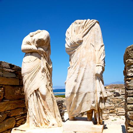 old  ruin: in delos   greece    the historycal acropolis and         old ruin site