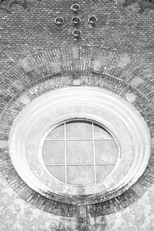rose window: antique contruction in italy europe marble and rose window the wall Stock Photo