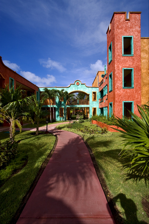 playa: mexico bush  window and red house  in playa del carmen Stock Photo