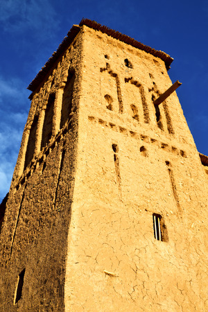 maroc: africa  in historical maroc  old construction  and the blue cloudy  sky Editorial