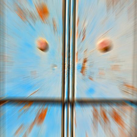 santorini: in   santorini  europe greece   old         architecture and venetian blind wall Stock Photo
