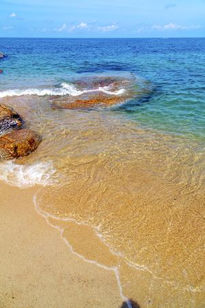 thailand beach: asia kho tao bay isle white  beach    rocks in thailand  and south china sea