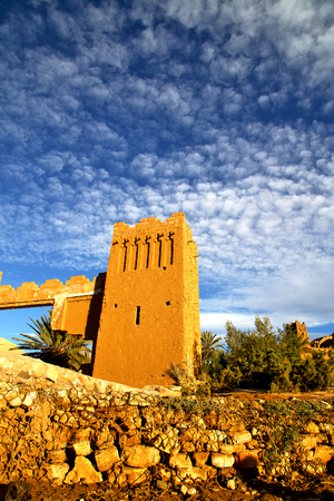 maroc: africa  in historical maroc  old construction  and the blue cloudy  sky Stock Photo