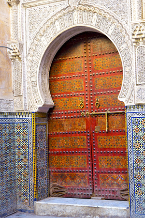 casbah: historical in  antique building door morocco style africa   wood and metal rusty Stock Photo