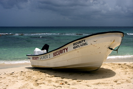 sand harbor: security harbor sand water boat and summer in   republica dominicana