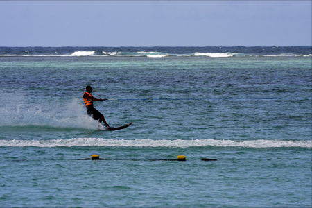 water skiing: mauritius belle mare water skiing in the indian ocean Editorial