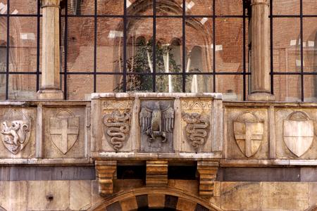 dei: castle brick  old brown and window reflex of piazza dei mercanti milan