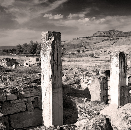 hierapolis: pamukkale    old       construction     in asia turkey the column  and the roman temple Stock Photo