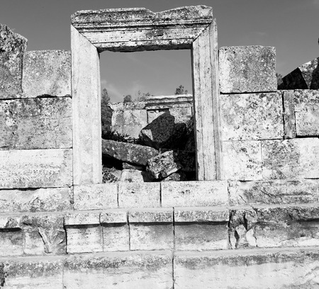 Roman temple: pamukkale    old       construction in asia turkey the column  and the roman temple Editorial