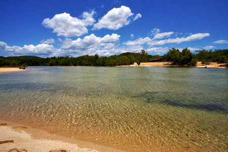in the  blue lagoon relax and bush in madagascar coastline nosy iranja