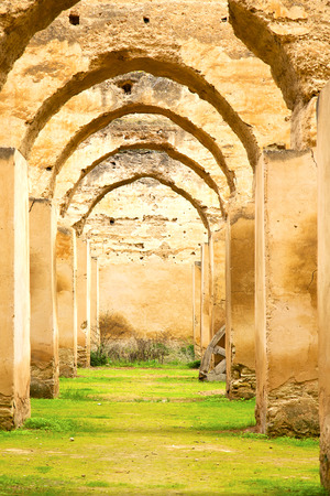 archway: old moroccan granary in the green grass and archway  wall Stock Photo